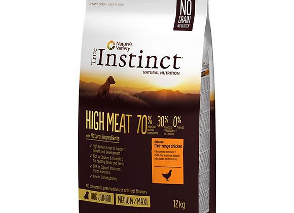 CROQUETTES CHIOT TRUE INSTINCT® HIGHT MEAT - MEDIUM/MAXI JUNIOR - POULET - 12KG