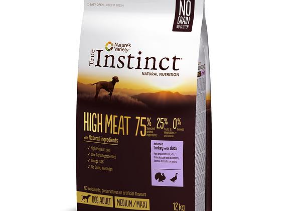 CROQUETTES CHIEN TRUE INSTINCT® HIGH MEAT - MEDIUM/MAXI ADULT - DINDE - 12KG