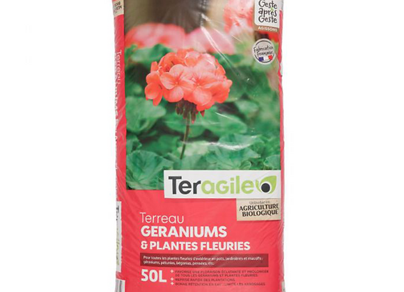 TERREAU GERANIUMS & PLANTES FLEURIES 50L