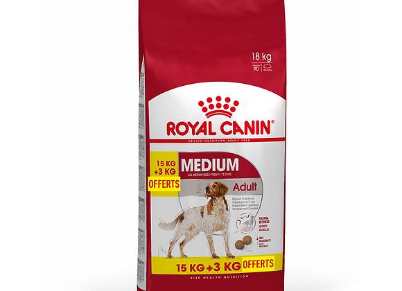 CROQUETTES CHIEN ROYAL CANIN® MEDIUM ADULT - 15KG + 3KG OFFERTS