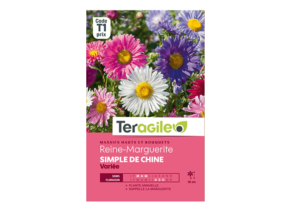 GRAINES REINE-MARGUERITE SIMPLE DE CHINE VARIÉE 1G TERAGILE®