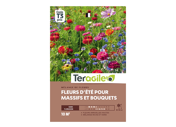 GRAINES FLEURS D'ÉTÉ POUR MASSIFS ET BOUQUETS 20G TERAGILE®