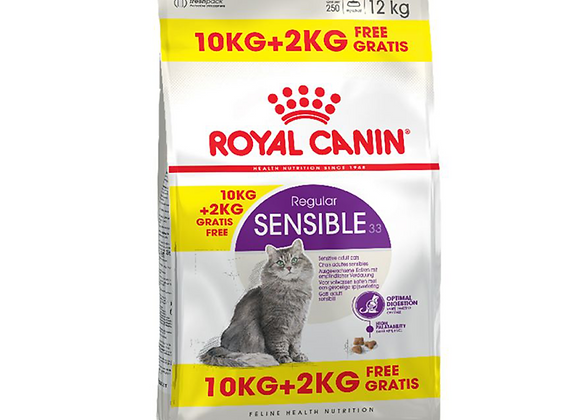 CROQUETTES CHAT ROYAL CANIN® SENSIBLE 33 REGULAR - 10KG + 2KG