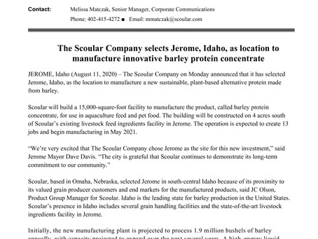 Scoular selects Jerome, Idaho, as location to manufacture innovative barley protein concentrate