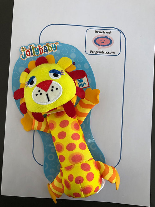 soft baby toy, rattle lion, baby present, baby shower, baby gift.