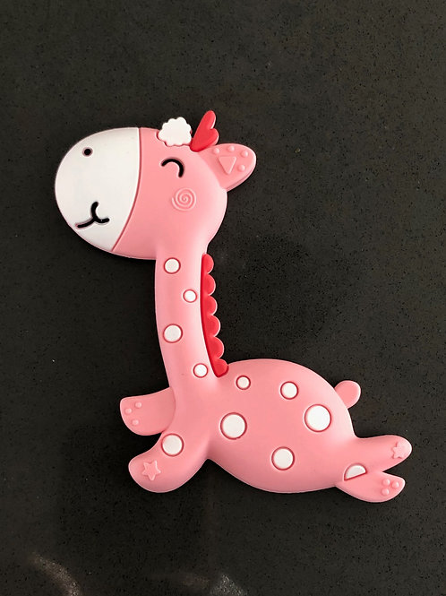 pink Giraffe young baby teether, baby shower luxury gift