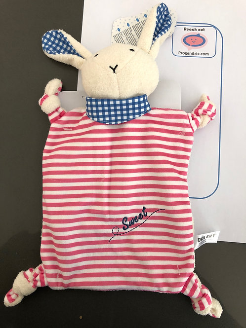 Red striped baby comforter doudou, baby toy, baby shower, new baby gifts.