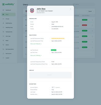 Wellbility User Details in Dashboard