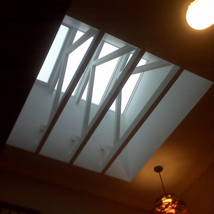 Skylights installed with exposed wrapped trusses at Randwick