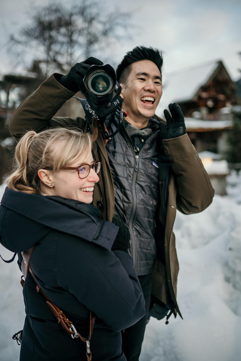 Jeff and Cat in action taking wedding photos couple at Nita Lake Lodge Whistler