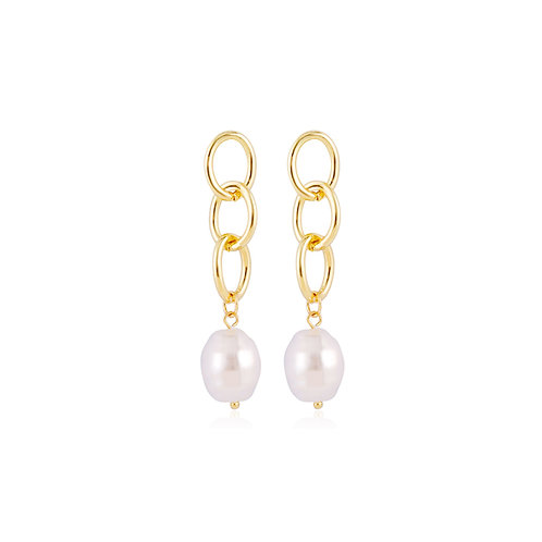 Chain Pearl Earrings