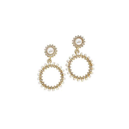 Pearl Circle Earrings