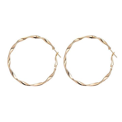 Gold Twist Ring Earrings