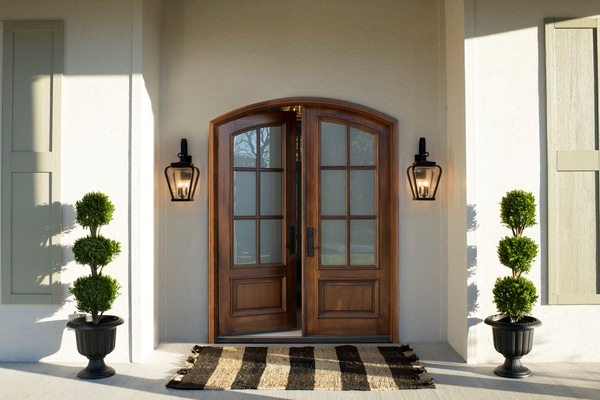 Pella premium wood entry doors with glass