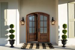 Pella premium wood entry doors with glass