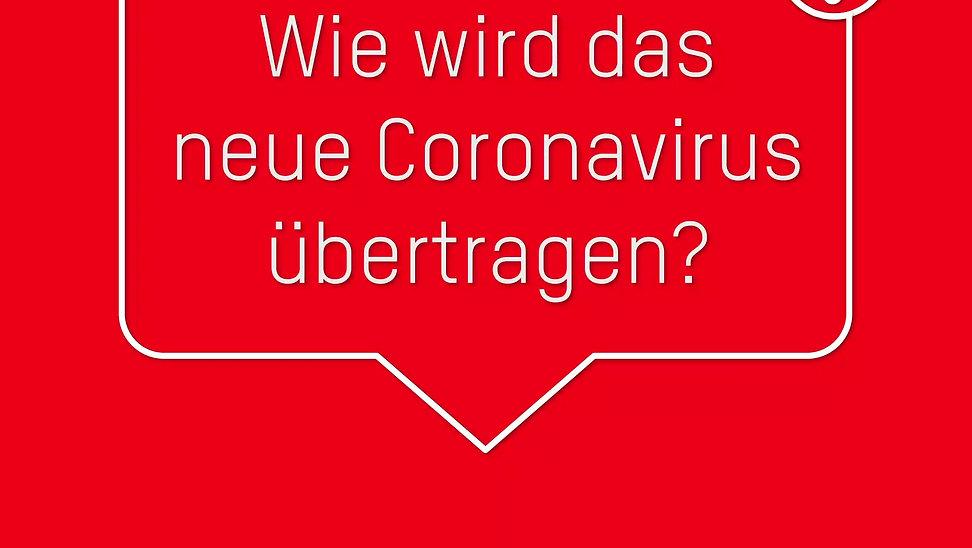 Wie wird das Coronavirus übertragen?