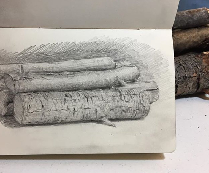 Drawing the firewood. #drawing #art #ala
