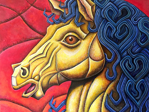 """Chromatic Metallic Horse"" by Nathan Perry"