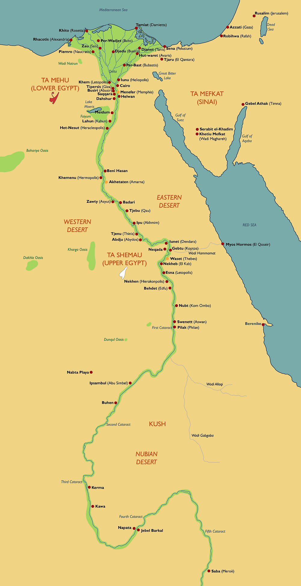 Map of Ancient Egyptian Town Names