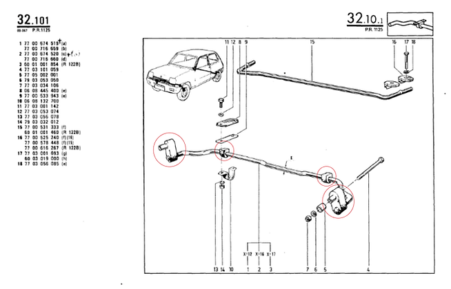 Silent-blocs barre anti-roulis intérieur
