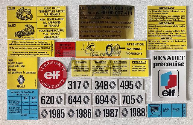 Kit sticker compartiment moteur Renault 5 - Super 5 GT Turbo engine bay