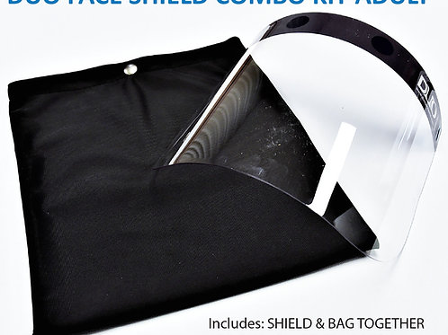 DUO Protects: ADULT Face Shield Combo Kit includes Face Shield and Bag