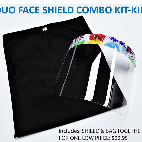 DUO Protects: KID Face Shield Combo Kit includes Face Shield and Bag