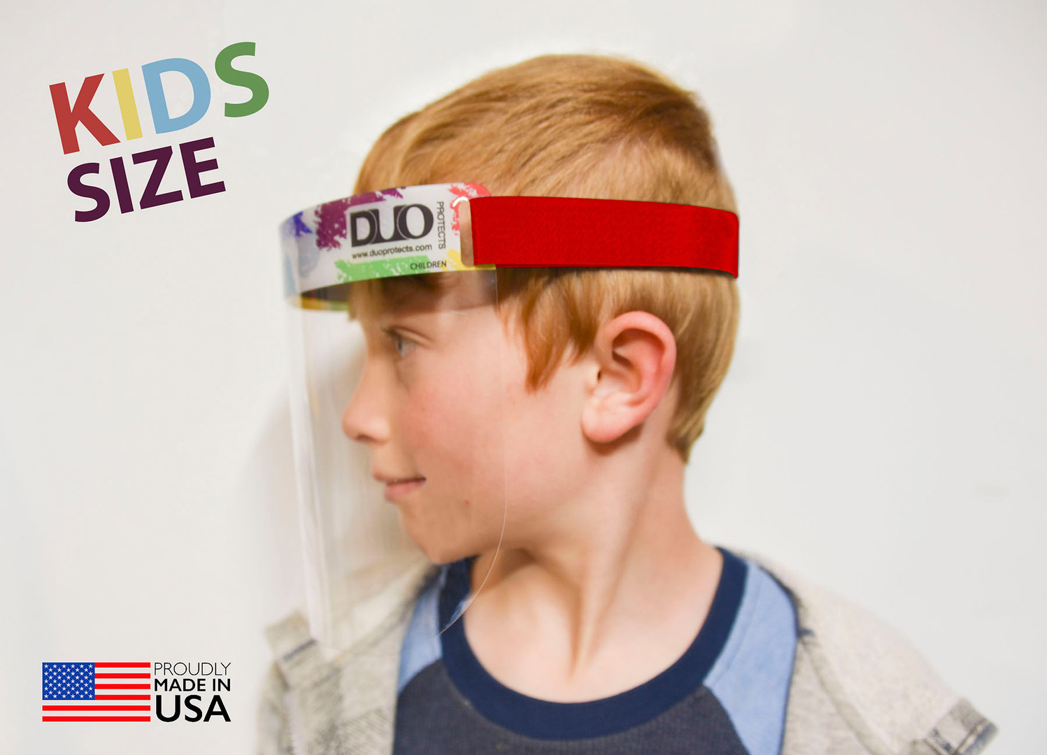 Kids Face Shield: Side View- fun, red velcro