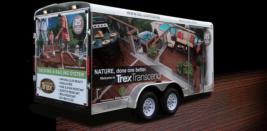 Boise Cascade 16' Trailer Wrap showcasing TrexTransend