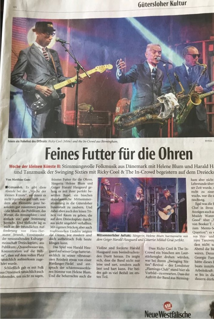 "Article in ""New Westfalian"" on Wednesday, 29th August 2018"