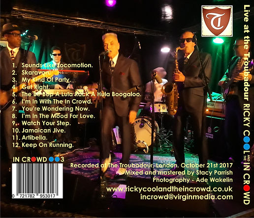 Live at the Troubadour - Ricky Cool and the In Crowd CD Bac