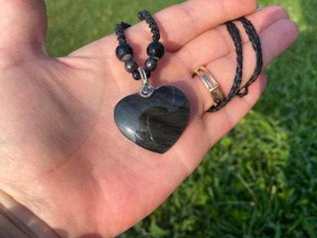Rainbow Obsidian Healing Heart Necklace