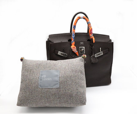 Pillow to fit an Hermès Birkin 35cm bag - Tweed with Pom Poms