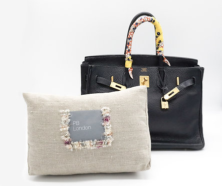 Pillow to fit an Hermès Birkin 35cm bag, Linen with trim