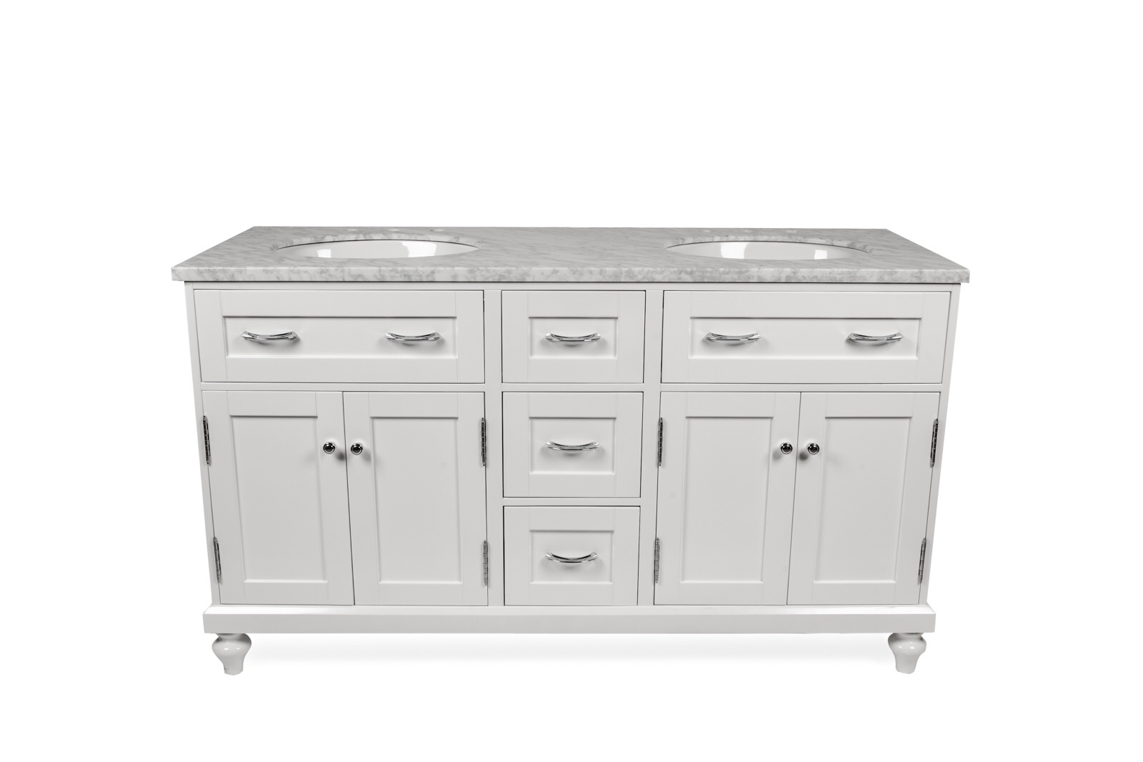 "60"" White Oval Double Sink Vanity"