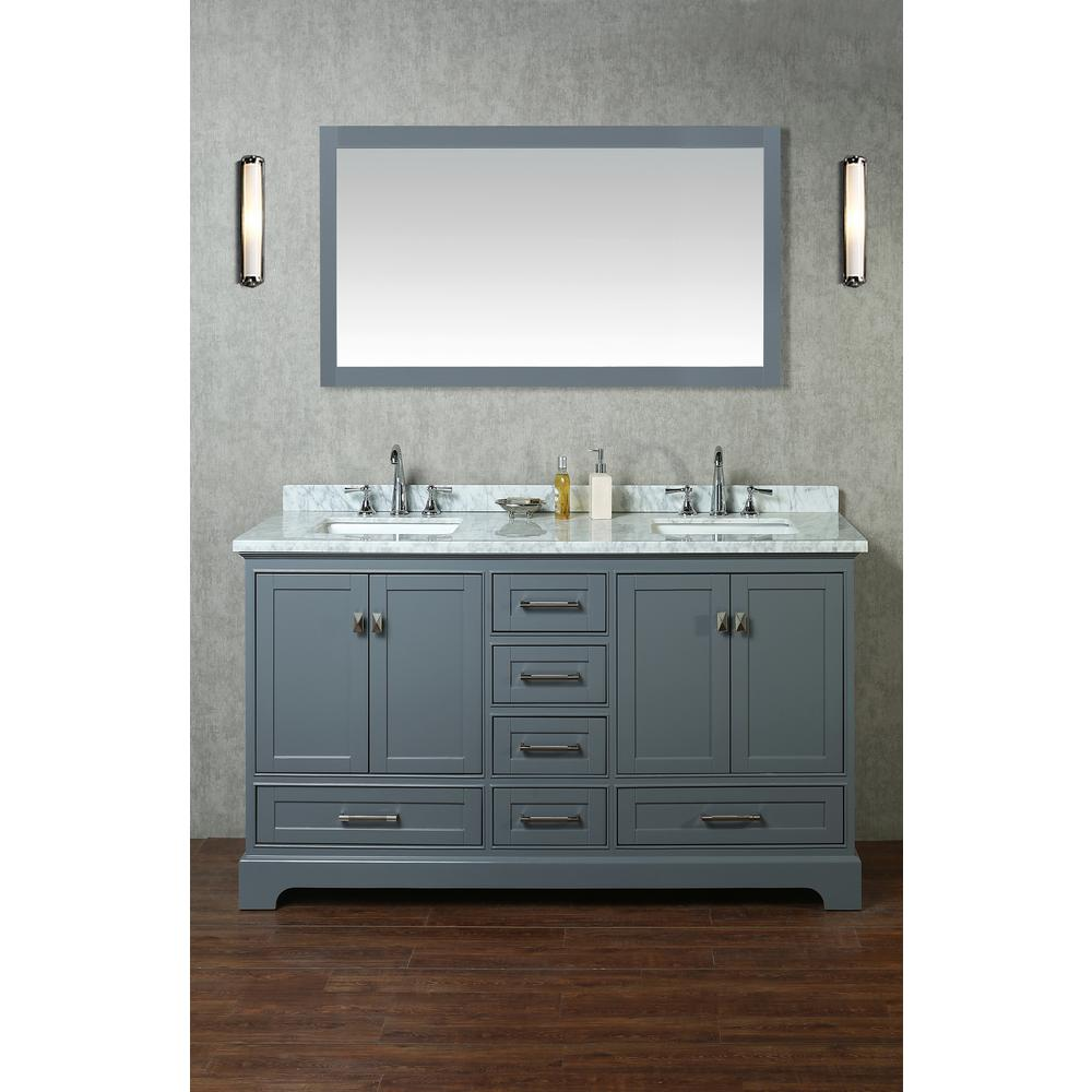 "60"" Gray Square Sink Double Vanity"