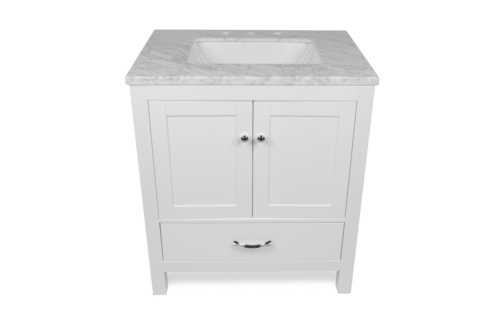"30"" White Single Sink Vanity"