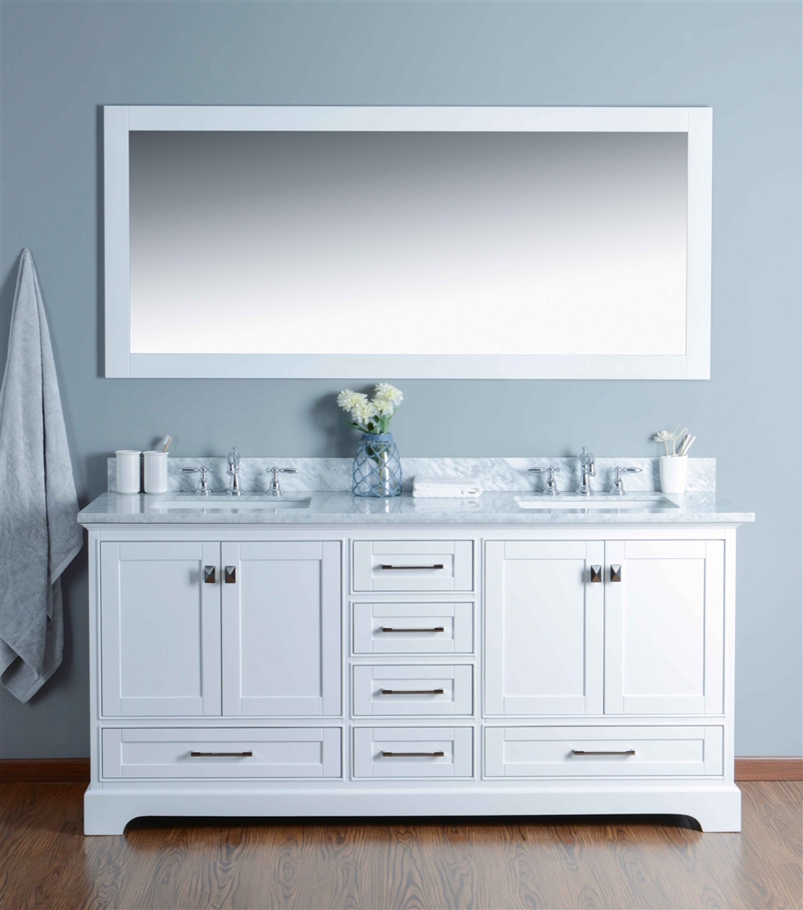 "72"" White Square Sink Double Vanity"
