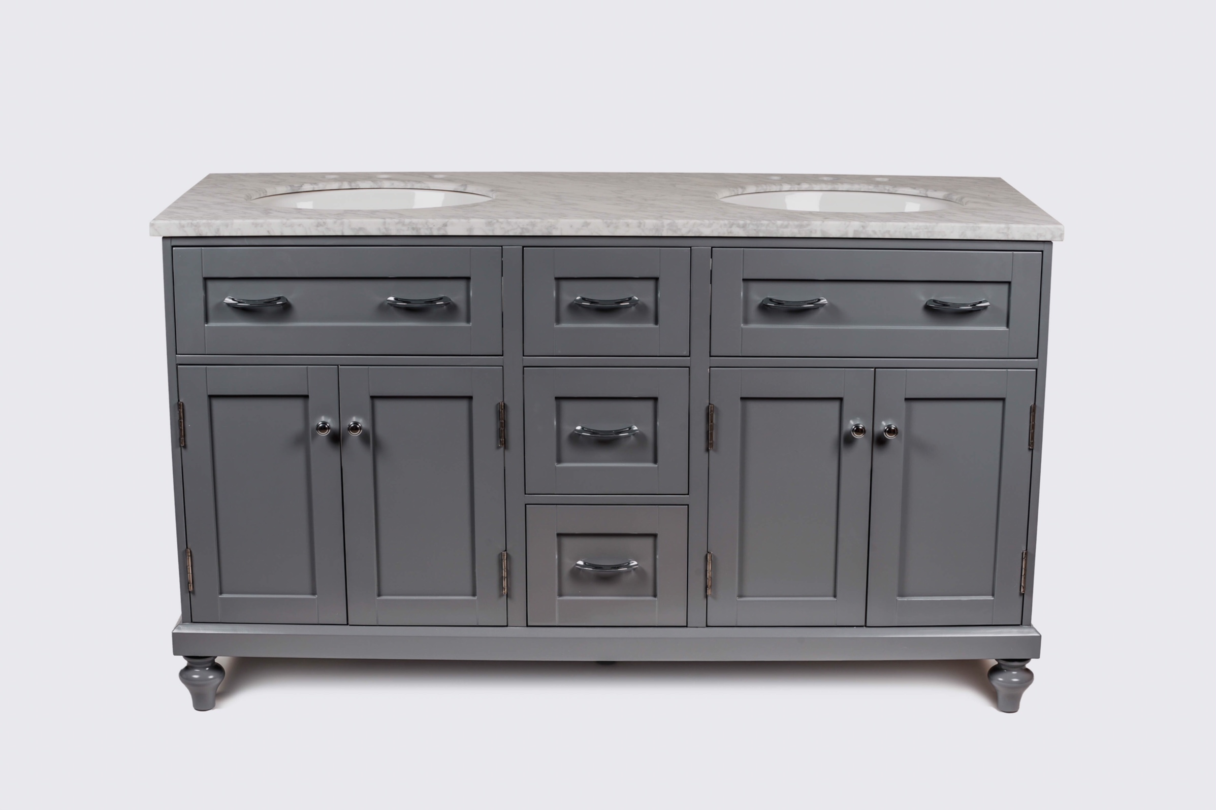 "60"" Gray Double Oval Sink Vanity"