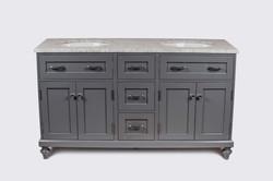 "60"" Gray Double Oval Sink Vanity"