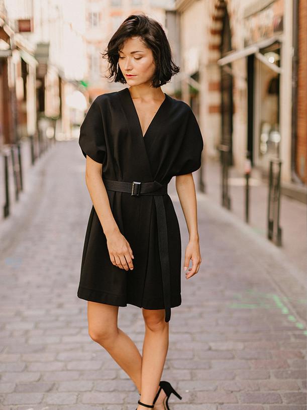 STEFFY, robe portefeuille kimono, créateur Delphine Josse, boutique de robe  à Toulouse.