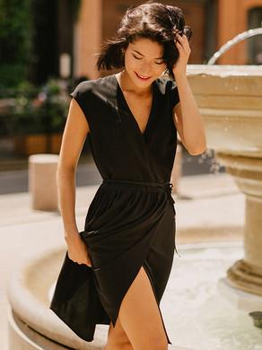PIETRA robe portefeuille  chic et confortable, créateur Delphine Josse, boutique de robe  à Toulouse.