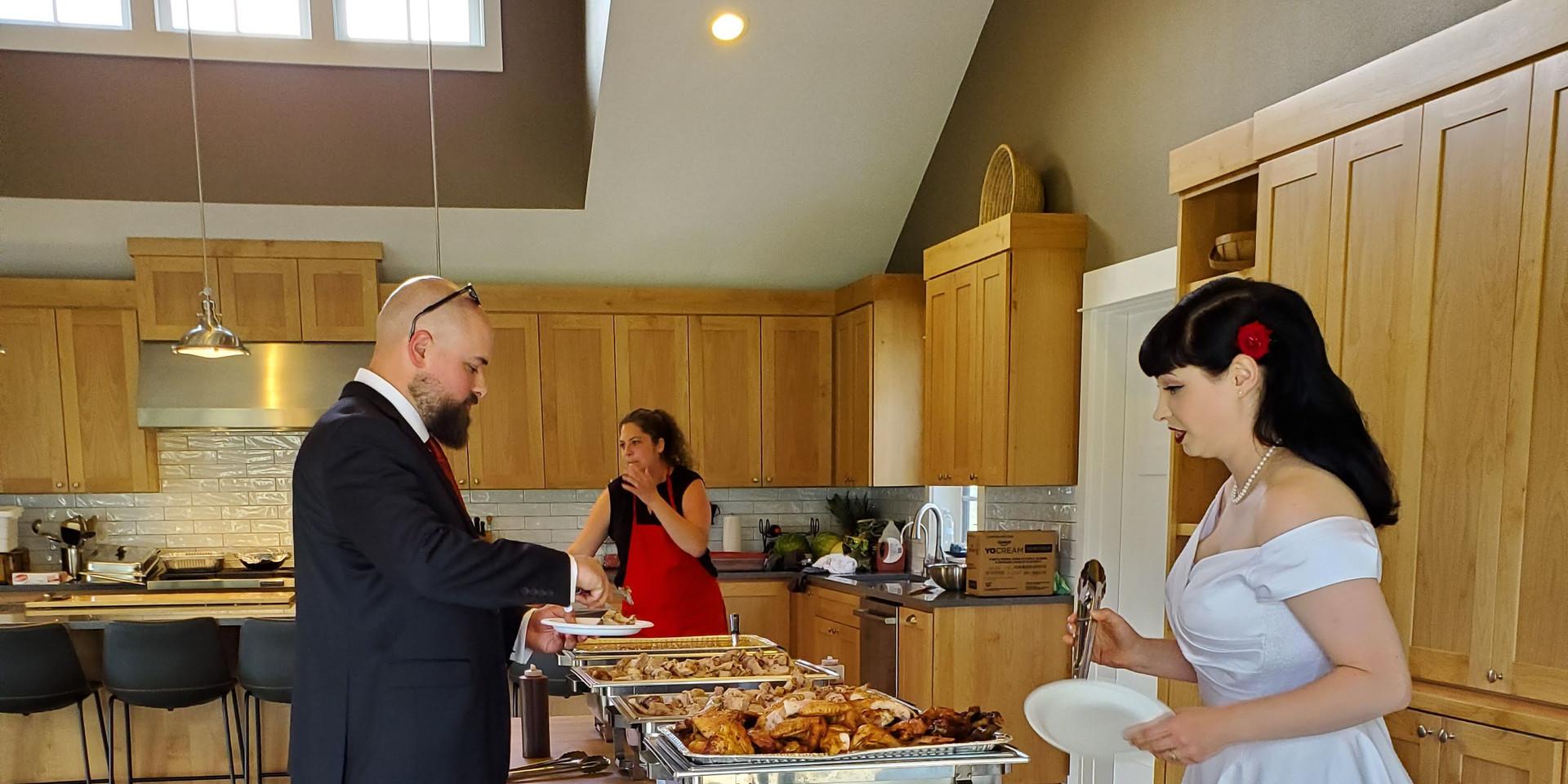A wedding buffet inside The Kitchen