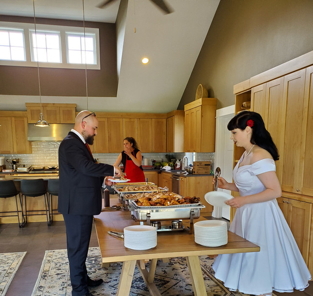 A wedding buffet inside The Kitchen
