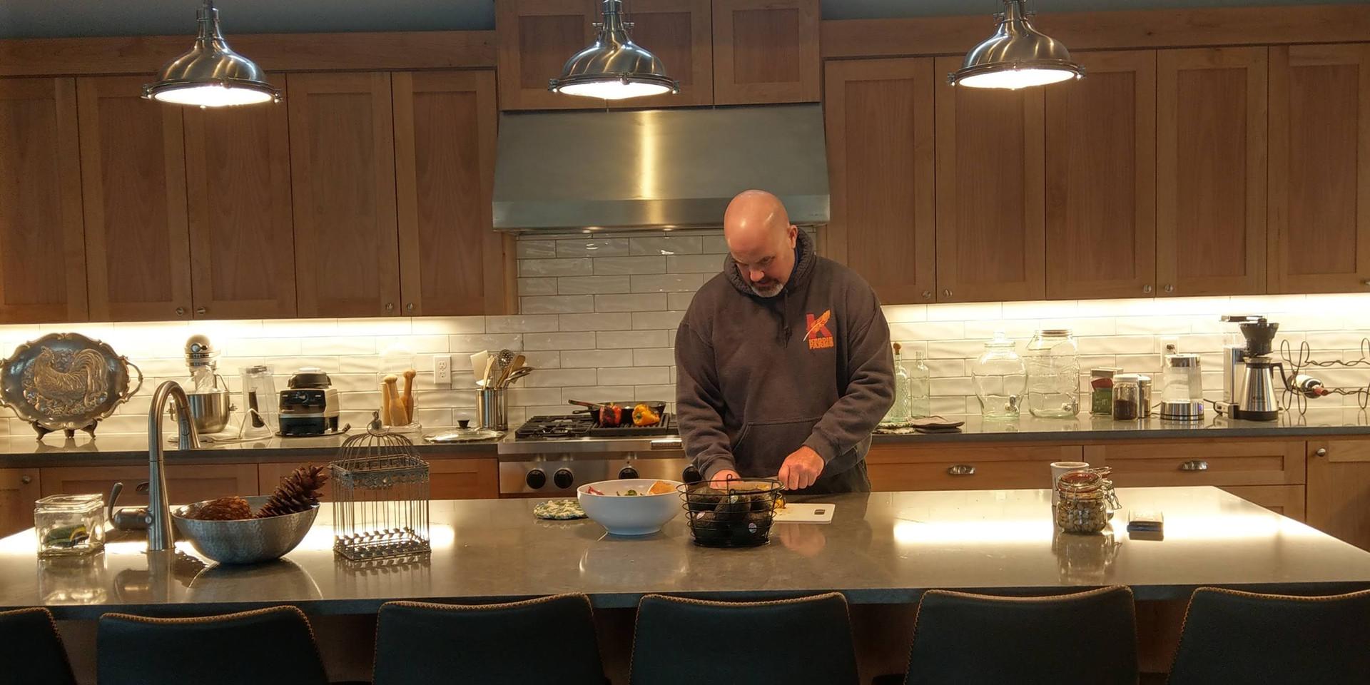 Reg working away in The Kitchen