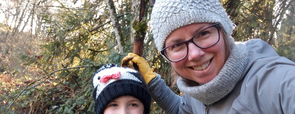 Lora and her nephew hiking trails in The Forest