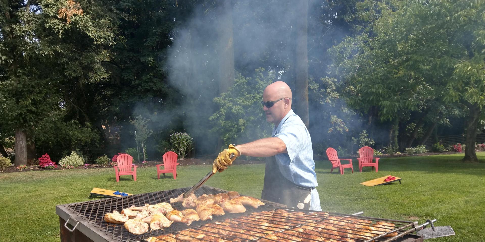 Reg grilling on large BBQ Pit
