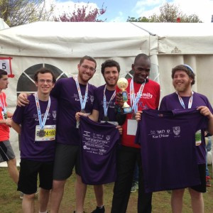 Kav L'Noar Team Members pose for a photo with the Marathon Winner