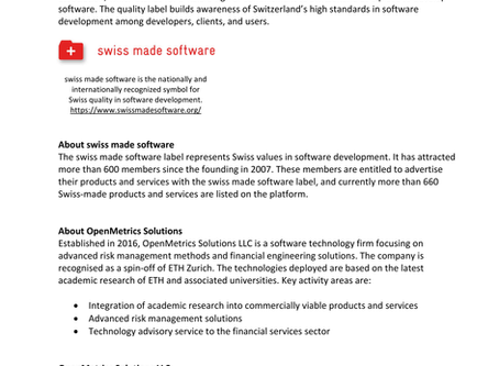 """Press Release - OpenMetrics Solutions joins the """"swiss made software"""" association"""