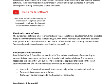 "Press Release - OpenMetrics Solutions joins the ""swiss made software"" association"